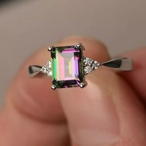 Boho Trendy Silver Rainbow Crystal Ring 9